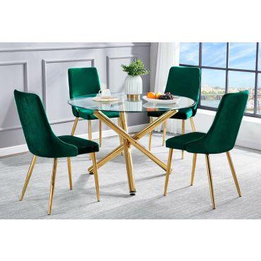Frey Gold Finish Round Dining Table Set