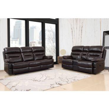 Fullerton Brown Leather Recliner Sofa