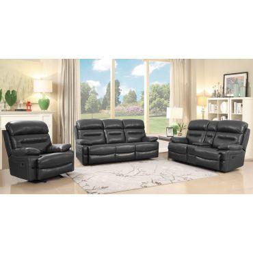 Fullerton Grey Leather Recliner Sofa