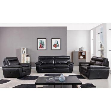 Galore Black Italian Leather Sofa Set