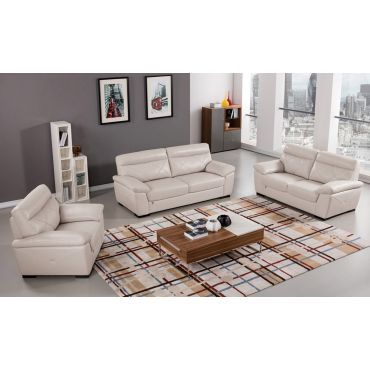 Galore Light Grey Italian Leather Sofa Set