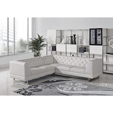 Garnet Tufted White Leather Sectional