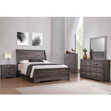 Geneva Rustic Grey Finish Sleigh Bedroom Set