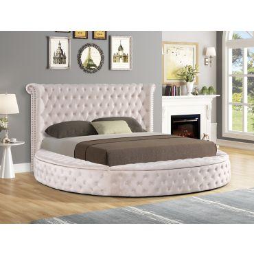 Gerbera Beige Tufted Velvet Round Bed