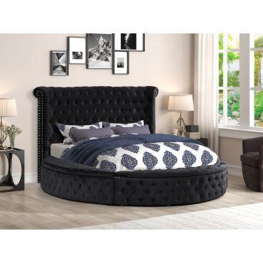 Gerbera Black Tufted Velvet Round Bed