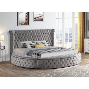 Gerbera Grey Tufted Velvet Round Bed