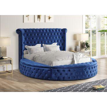 Gerbera Navy Blue Tufted Velvet Round Bed