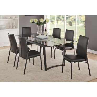 Gerrit Black Glass Top Modern Dining Table