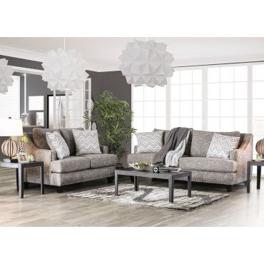 Ginevra Living Room Gray Linen