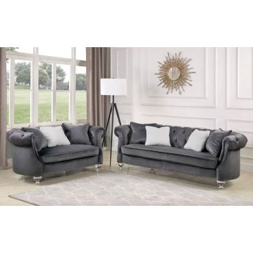 Ginevra Living Room Gray Velvet