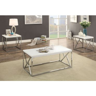 Giovanna Modern White Coffee Table Set