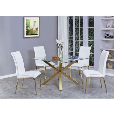 Goldies Square Glass Top Table Set