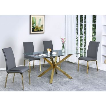 Goldies Gold Finish Dining Table Set