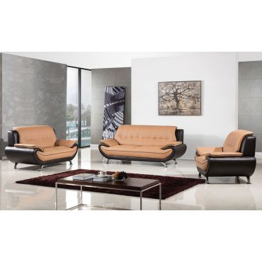 Griffen Camel Brown Leather Sofa Set