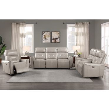 Gulliver Grey Leather Power Recliner Sofa Set