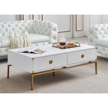 Hagelin White Lacquer Storage Coffee Table
