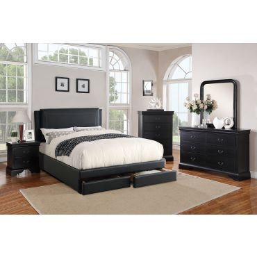 Harbor Leather Platform Bed With Storage