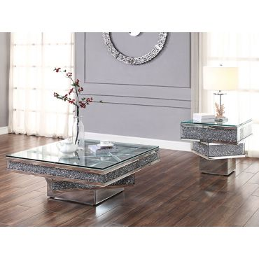 Harmony Mirrored Coffee Table With Crystals
