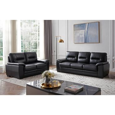 Murik Black Leather Casual Living Room