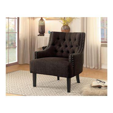 Hartwell Brown Linen Accent Chair