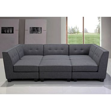 Hawthorn Modular Sectional Set Grey Linen
