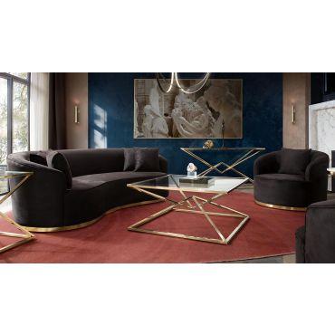 Helena Black and Gold Modern Living Room