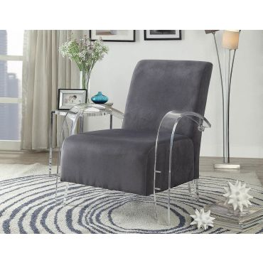 Helia Grey Accent Chair Acrylic Frame