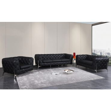 Hendrix Black Italian Leather Chesterfield Sofa Set