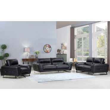 Hendrix Modern Black Leather Sofa