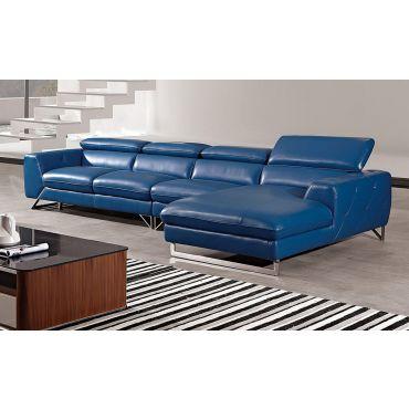 Hera Blue Italian Leather Modern Sectional