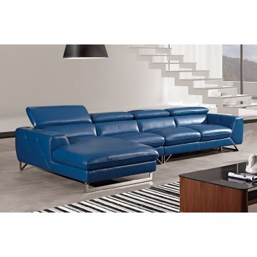 Hera Blue Italian Leather Modern Sectional