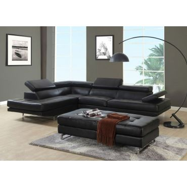 Hester Black Leather Corner Sofa