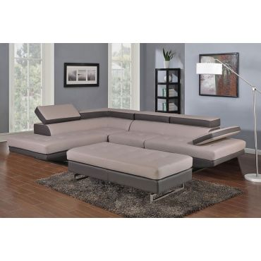 Hester Two Tone Leather Sectional,Hester Two Tone Sectional Facing Right Side