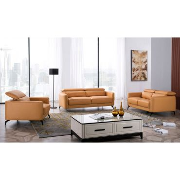 Holborn Yellow Leather Modern Sofa