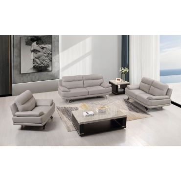 Holiday Light Grey Leather Sofa Set