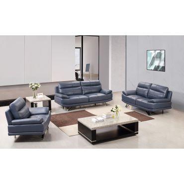 Holiday Navy Blue Leather Sofa Set