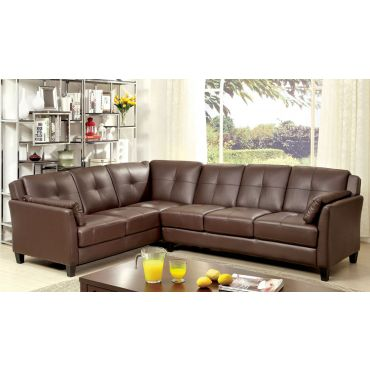 Howard Brown Leather Sectional Sofa