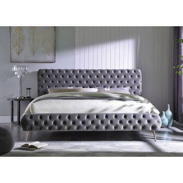 Impulse Tufted Grey Velvet Modern Bed