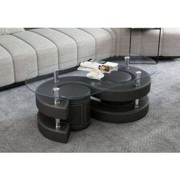 Infinity Black Coffee Table With Stools