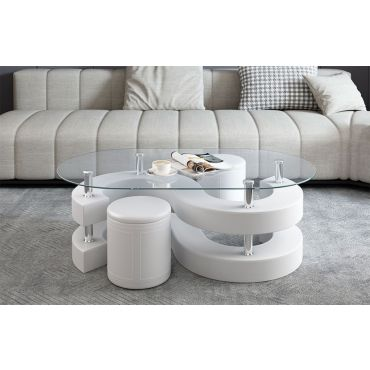 Infinity White Coffee Table Stools