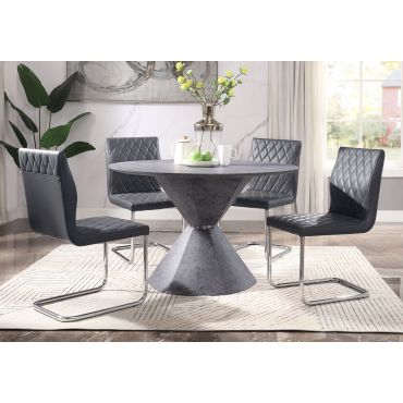 Isabella Faux Concrete Round Dining Table Set
