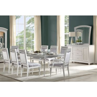 Italo Dining Room Table Set Platinum Finish