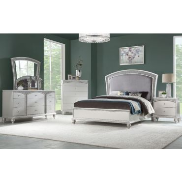 Italo Contemporary Bed Platinum Finish
