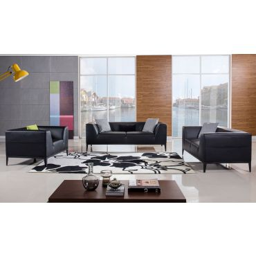 Izzy Modern Black Leather Sofa