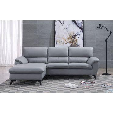 Jacky Modern Grey Leather Sectional