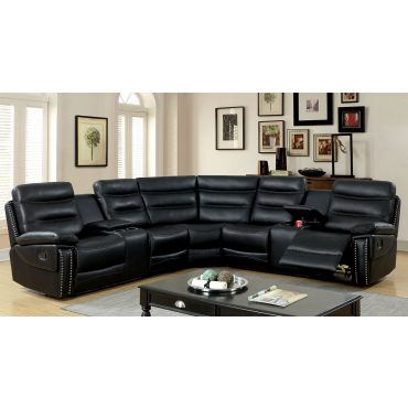 Jaidan Black Leather Recliner Sectional