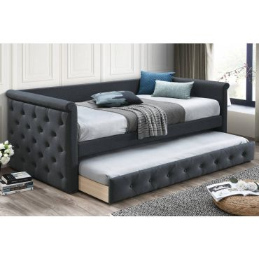 Jalen Charcoal Fabric Day Bed Set