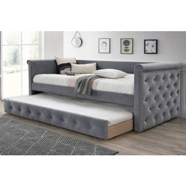 Jalen Grey Velvet Daybed With Trundle