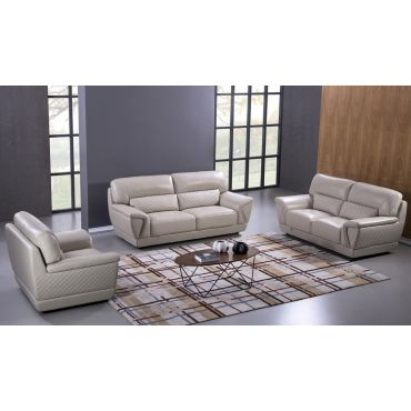 Jaylen Light Grey Italian Leather Sofa Set