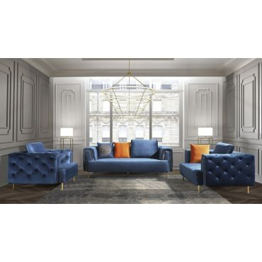 Jean Blue Velvet Sofa Set With Gold Trim